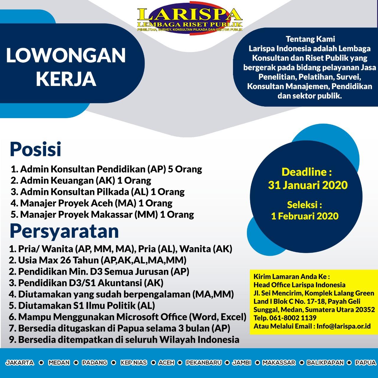 Lowongan Kerja Larispa Indonesia Januari 2020 Larispa Lembaga