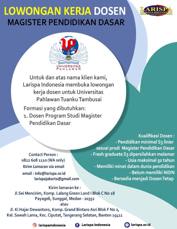 Lowongan Kerja Dosen Universitas Pahlawan Tuanku Tambusai